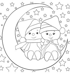 a coloring bookpage a pair of snowmen on the moon vector image