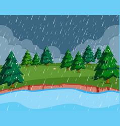 a raining scene in nature vector image