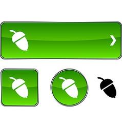 Acorn button set vector