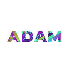 Adam concept retro colorful word art vector