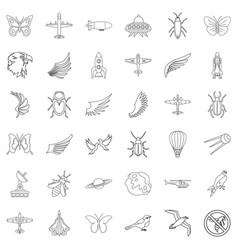 aerospace icons set outline style vector image