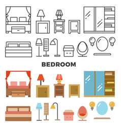 bedroom furniture and accessories collection vector image