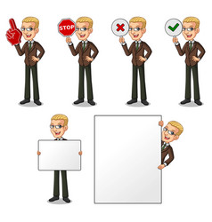 blonde businessman holding sign board vector image