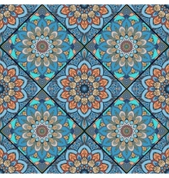 Boho tile flower squares colorful blue vector
