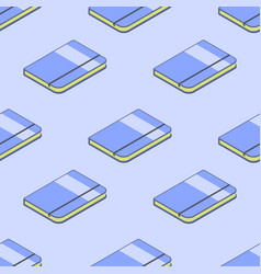 Book or notebook 3d isometric seamless pattern vector