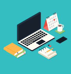Business isometric workspace with office supplies vector