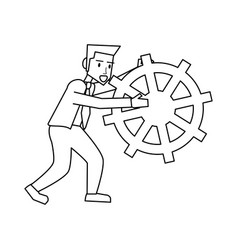 Businessman holding gear icon image vector