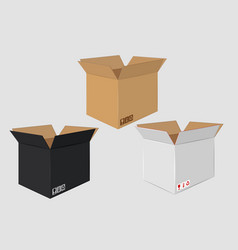 Cardboard open box side view package design vector