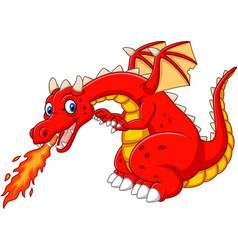 cartoon dragon posing with fire vector image