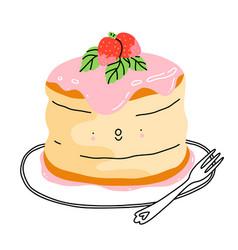 Cartoon fluffy pancake vector