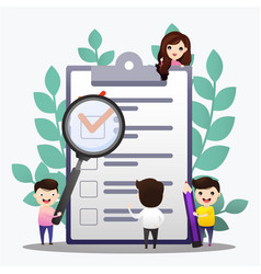 check list people creating plan and checking vector image
