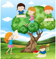 Children reading and writing in the park vector