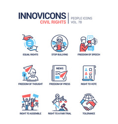 Civil rights concept line design style icons set vector
