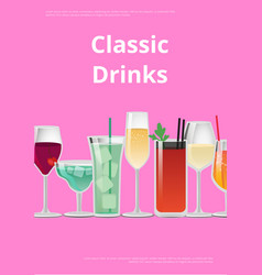 Classic drinks advertising poster icons alcohol vector