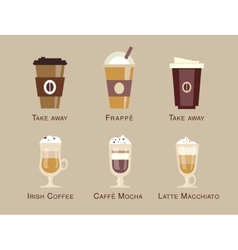 Coffee icon set menu Coffee beverages types vector image