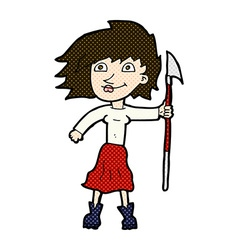 comic cartoon woman with spear vector image