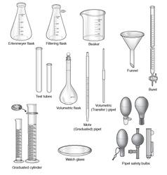 Common laboratory glassware vector