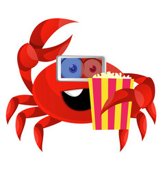crab with popcorn and 3d glasses on white vector image
