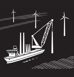 crane ship building wind farm in sea vector image