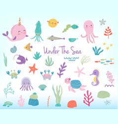 cute cartoon sea animals and plants vector image