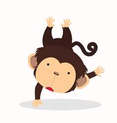 cute little monkey cartoon character vector image