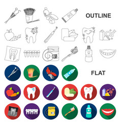 dental care flat icons in set collection for vector image