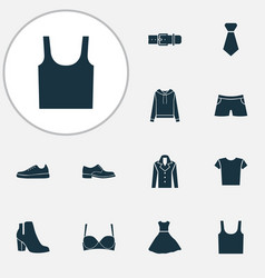 dress icons set with evening gown gumshoes male vector image