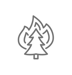 fire on tree wildfire line icon vector image