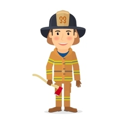 Firefighter man character vector image