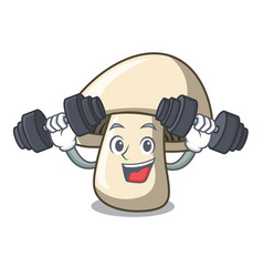 Fitness champignon mushroom character cartoon vector