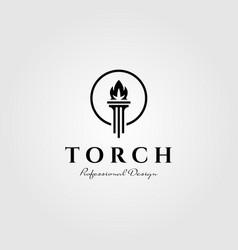 flame torch logo pillar symbol design vector image