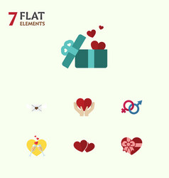 flat icon love set of celebration gift sexuality vector image