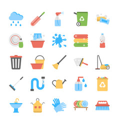 Flat icon set of trash disposal vector