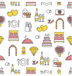 flat line art wedding seamless pattern vector image