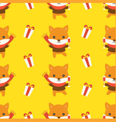 fox and present box christmas seamless pattern vector image