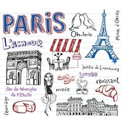 France symbols as funky doodles vector image