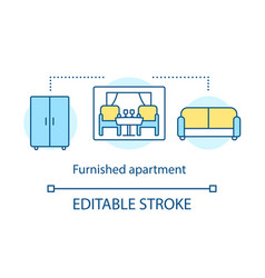 Furnished apartment concept icon vector