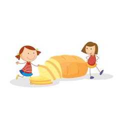 girls and bread vector image