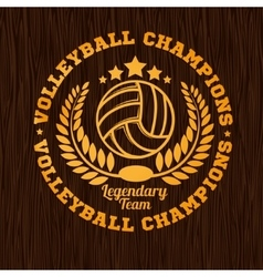 Gold volleyball emblem on the wooden texture vector