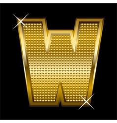 Golden font type letter W vector image
