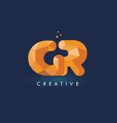 Gr letter with origami triangles logo creative vector