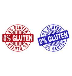 Grunge 0 percents gluten textured round stamp vector