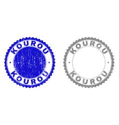 Grunge kourou textured watermarks vector