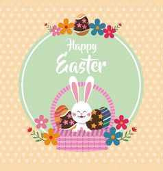 happy easter bunny in basket egg floral dots vector image