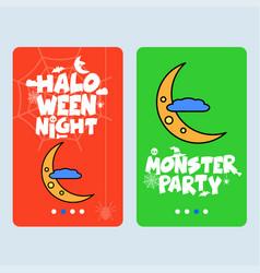 happy halloween invitation design with moon vector image