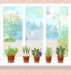 Herbs in flower pots growing on a windowsill the vector