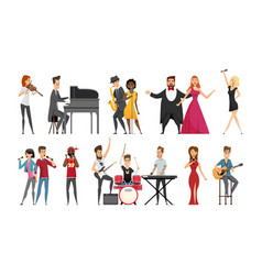 Hobby of musician people set vector
