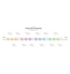 Infographic 12 months modern timeline calendar vector