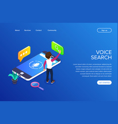 isometric voice search concept search for vector image
