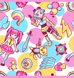 Japanese anime cosplay seamless pattern cute vector